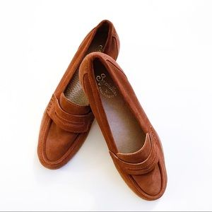 Seychelles Cognac Suede Penny Loafer Flats